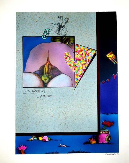 Jorge Carruana Bances, Sin título, 1985, (Coppia che scopa, e=mc2 e paesaggio), Serie Fumetti, Sesso, Guerra, Tempera sobre cartulina, 430 x 330 mm