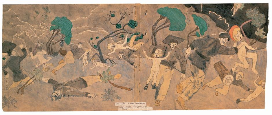 Henry-Darger-02-18 At Norma Catherine - But wild thunderstorm with cyclone like wind saves them2002.22.2a